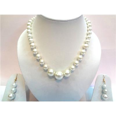 Smart Strings White Beads Jewellry Necklace Set