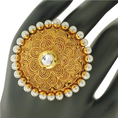 Spargz Antique Wedding Wear Gold Alloy Synthetics Stones Adjustable Finger Ring For Women AIFR 057