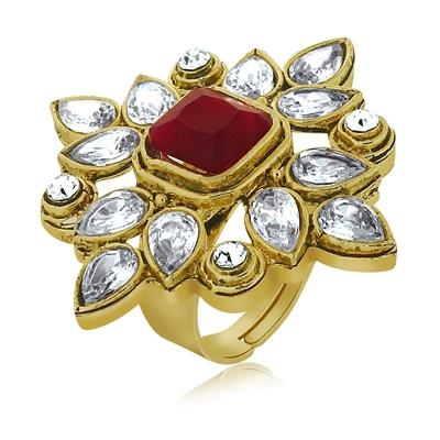Spargz Antique Wedding Wear Gold Brass Octagon Stone Adjustable Finger Ring For Women AIFR 044 free heart shaped key ring