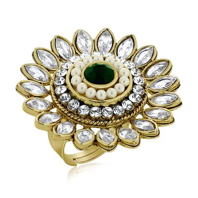 Spargz Antique Wedding Wear Gold Brass Octagon Stone Adjustable Finger Ring For Women AIFR 047