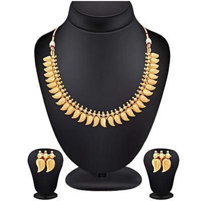 Spargz Gold Plating South Indian Traditional Mango Leaf Jewellery Necklace For Women AINS 151