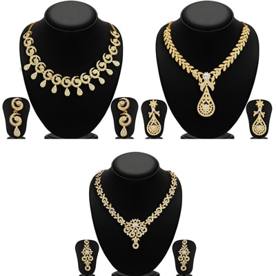 Sukkhi Glimmery Pack of 3 Necklace Set