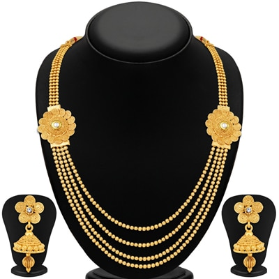 Sukkhi Marvellous Jalebi 4 String Gold Plated Necklace Set For Women