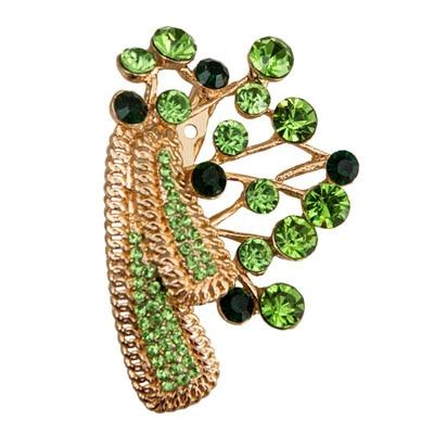 Taj Pearl Golden And Green Broach