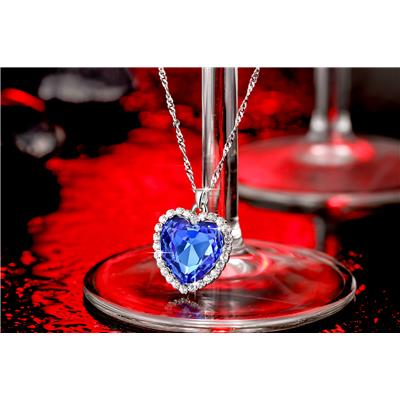 The Blue Ocean Heart Swarovski Elements Austrian Crystal Pendant For Girls And Women By Yellow Chimes