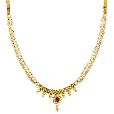 The Luxor Australian Diamond Studded White Colored Mangalsutra Type Necklace NK-1905