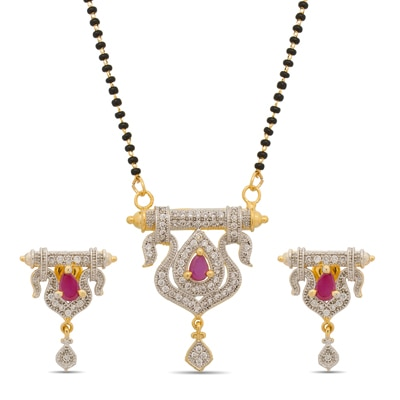 Luxor Gold And Silver Mangalsutra With Earring