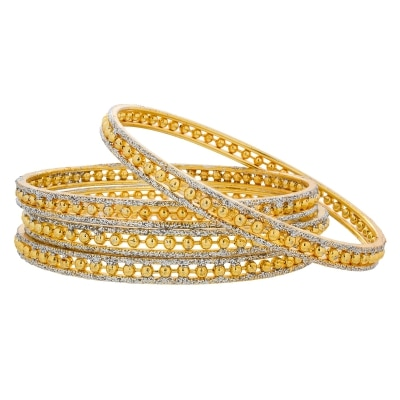 The Luxor Jari  Gold Plated Designer Daily Wear Bangles Set BG-2042