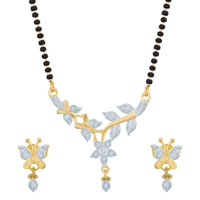 The Luxor Regular Wear Australian Diamond Studded Butterfly Shaped Mangalsutra Set Ms-1395