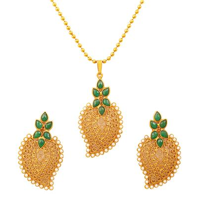 Touchstone Antique Gold Plated Traditional Leaf Pendant Set