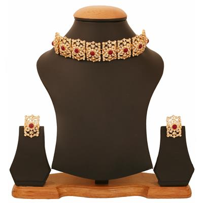 Touchstone Gold Plated Mughal Style Necklace Set