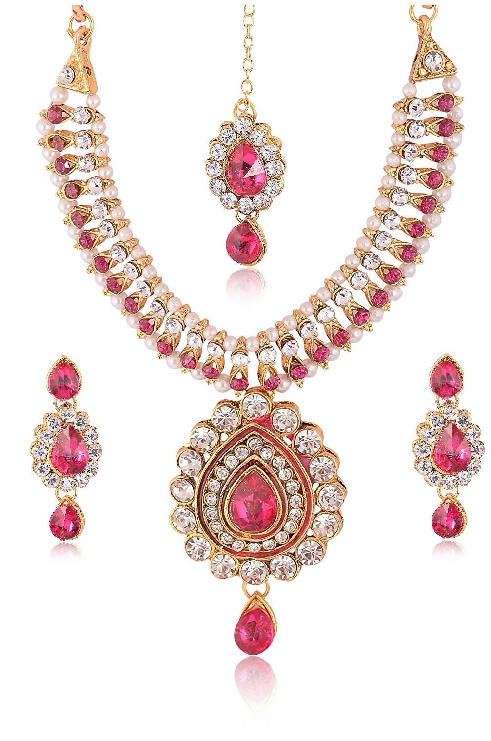Urbanela Party Wear Garba Dandia Special Navratri Jewellery Necklace Set with Maang Tikka Earrings for Girls UNGB05-PINK