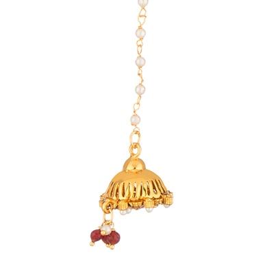 Voylla Gold Toned Red Stone Studded Borla Maang Tika