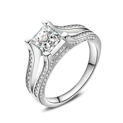 Women Fashion Cubic Zircon Silver Plated Wedding Ring Band US Size 6-10