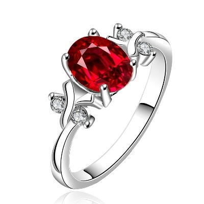 Yellow Chimes Red Diana Austrian Crystal 925 Silver Plated Ring For Women