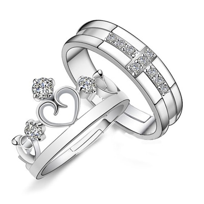 YELLOW CHIMES ' Darling Heart Crown' 925 Sterling Silver Plated Crystal Proposal Rings Promising Couple Rings for Girls and Boys