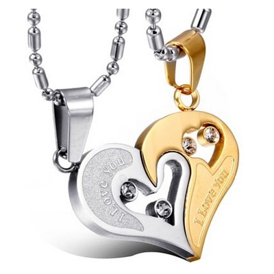 Lovers Heart I Love You Engraved Crystal Studded Joining Two Piece Couple Pendant Pair for Girls and Boys  by YELLOW CHIMES/ Valentines Gift/ Gift for Girls/ Gift for Boys