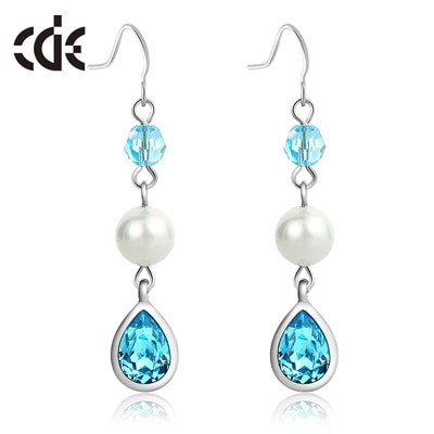 Swarovski Elements Crystal Drop with Natural Fresh Water Pearl Drop Earrings for Women