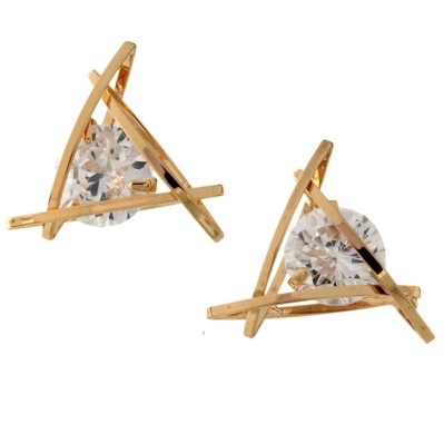 Young & Forever  Gold & Swarovski Crystal Triangle Orbit Stud Earrings For Women By Crazeemania
