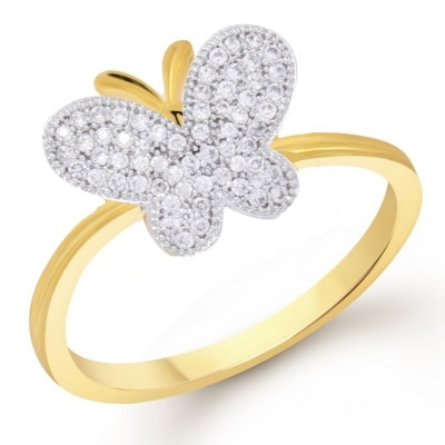 Zcarina Butterfly Design American Diamond Ring for Girls