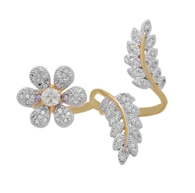 Zcarina Flowers Leaf Design American Diamond Double Finger Free Size Ring