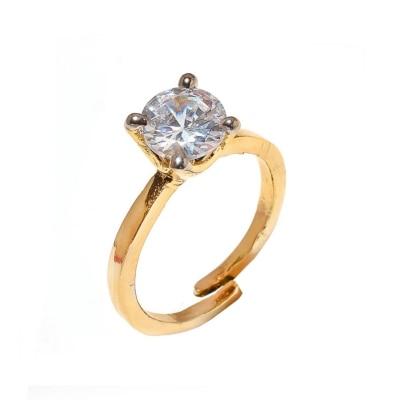 Zcarina Solitaire American Diamond Cz Adjustable Ring