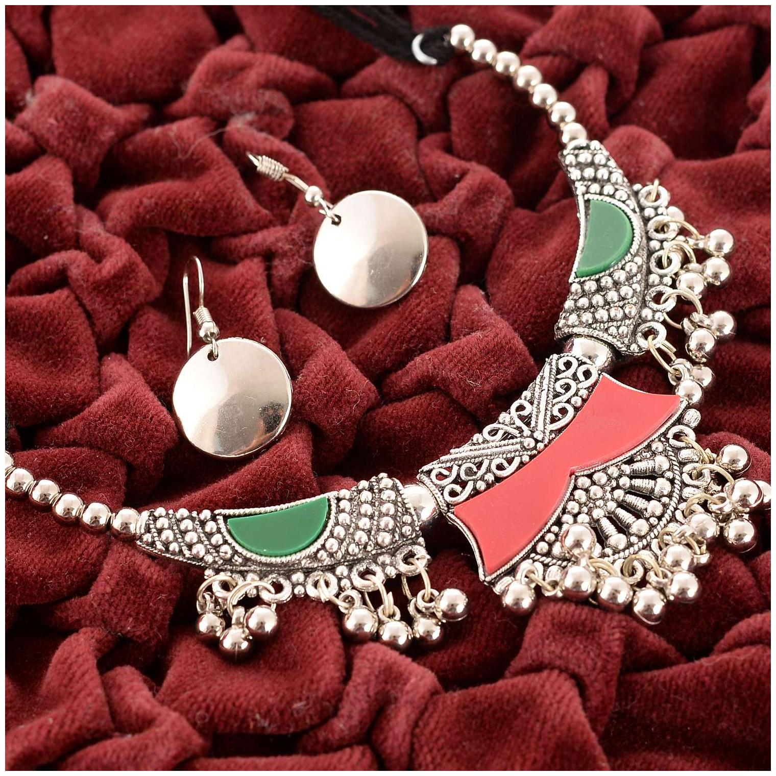 Zcarina Oxidized Silver Garba Dandiya Navratri Style Antique Necklace Earrings set