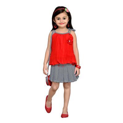 Aarika Red,Black Georgatte Top & Skirt