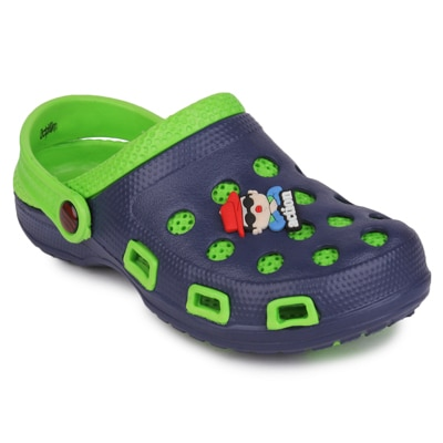 Action Kids Navy Blue And Green Clog
