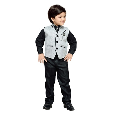 AJ Dezines Black And Grey Shirt And Pant With Waistcoat
