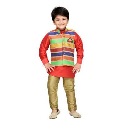 AJ Dezines Kids Kurta Waistcoat and Polo Pant Set