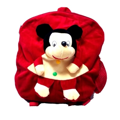 Art-N-Soul Micky Soft Cartoon Toy Cute Kids Plush Backpack Teddy Bag For Children's-Size (L x Bx h) in inches -(14 x 11 x 2) -(Red)