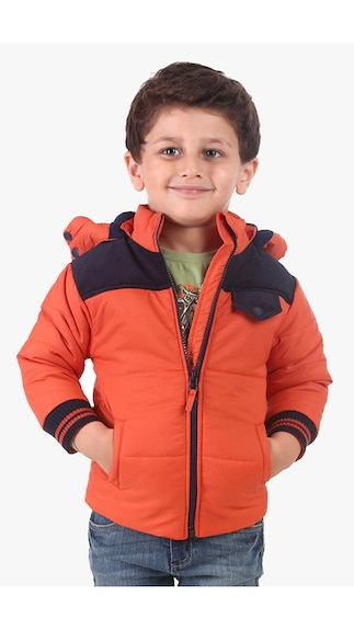 Flat 50% Cashback On Kid's Winter Wear By Paytm | Beebay Boys 100% Polyester Corduroy Patch Quilted Jacket W. Hood (Orange) @ Rs.1,167
