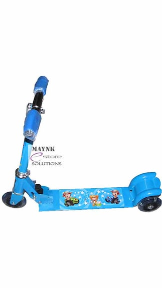 Blue Color Kids Scooter Foldable Indoor Outdoor Cartoon Tricycle 3 Wheel Lights FREE SHIPPING   With Cartoon Character Print Footplate available at Paytm for Rs.689