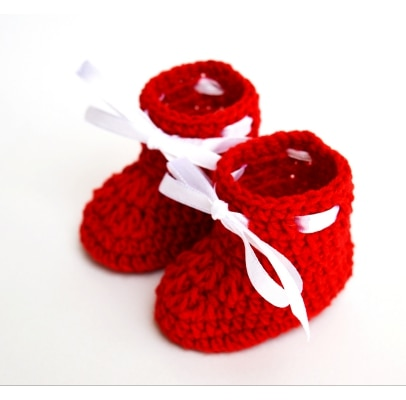 Crochet Baby Booties for Infant New Born Baby - Red