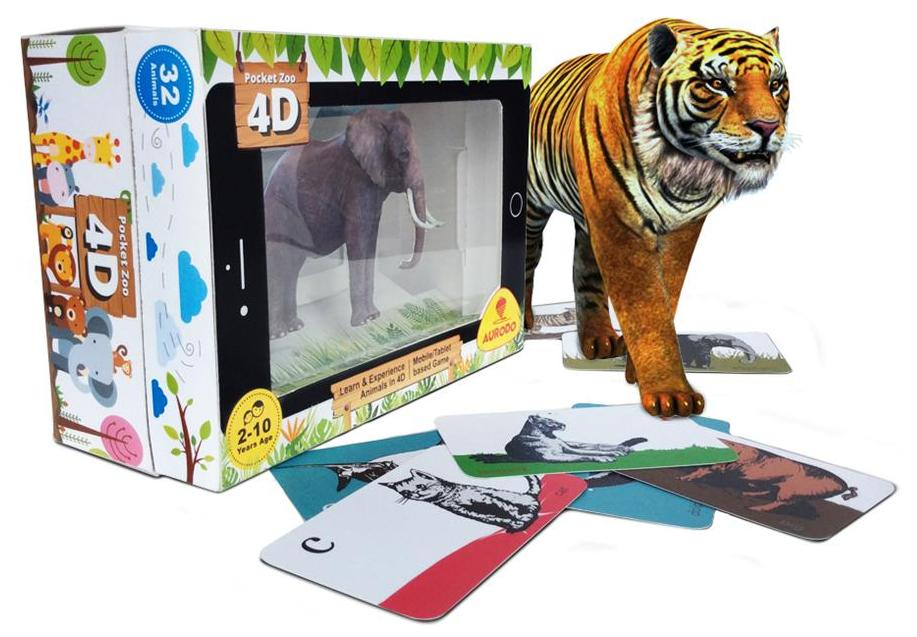 Aurodo Pocket Zoo 4D - Zoo Animals in 4D - kids educational toys - toy animal set - (iOS, Android - Mobile / Tablet based) - Age 2-10