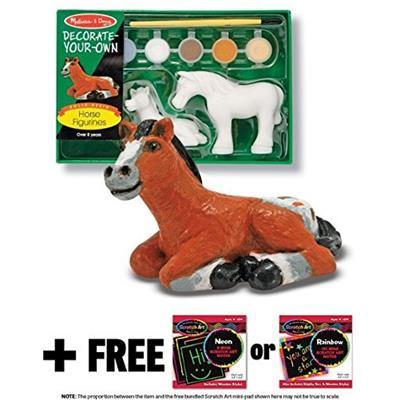 Horse Figurines Horses Figurines: Decorate-Your-Own Kit + FREE Melissa & Doug Scratch Art Mini-Pad Bundle [42444]