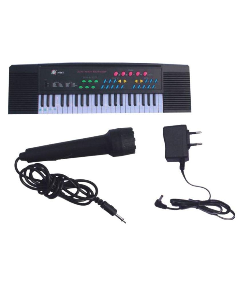jk int Piano Keyboard With Microphone Black