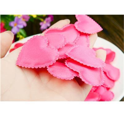 Magideal 100Pcs Heart Shape Fabric Flower Petals Wedding Decor Fushcia
