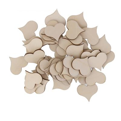 Magideal 50Pcs Wooden Hearts Embellishments for Craft 30x3m