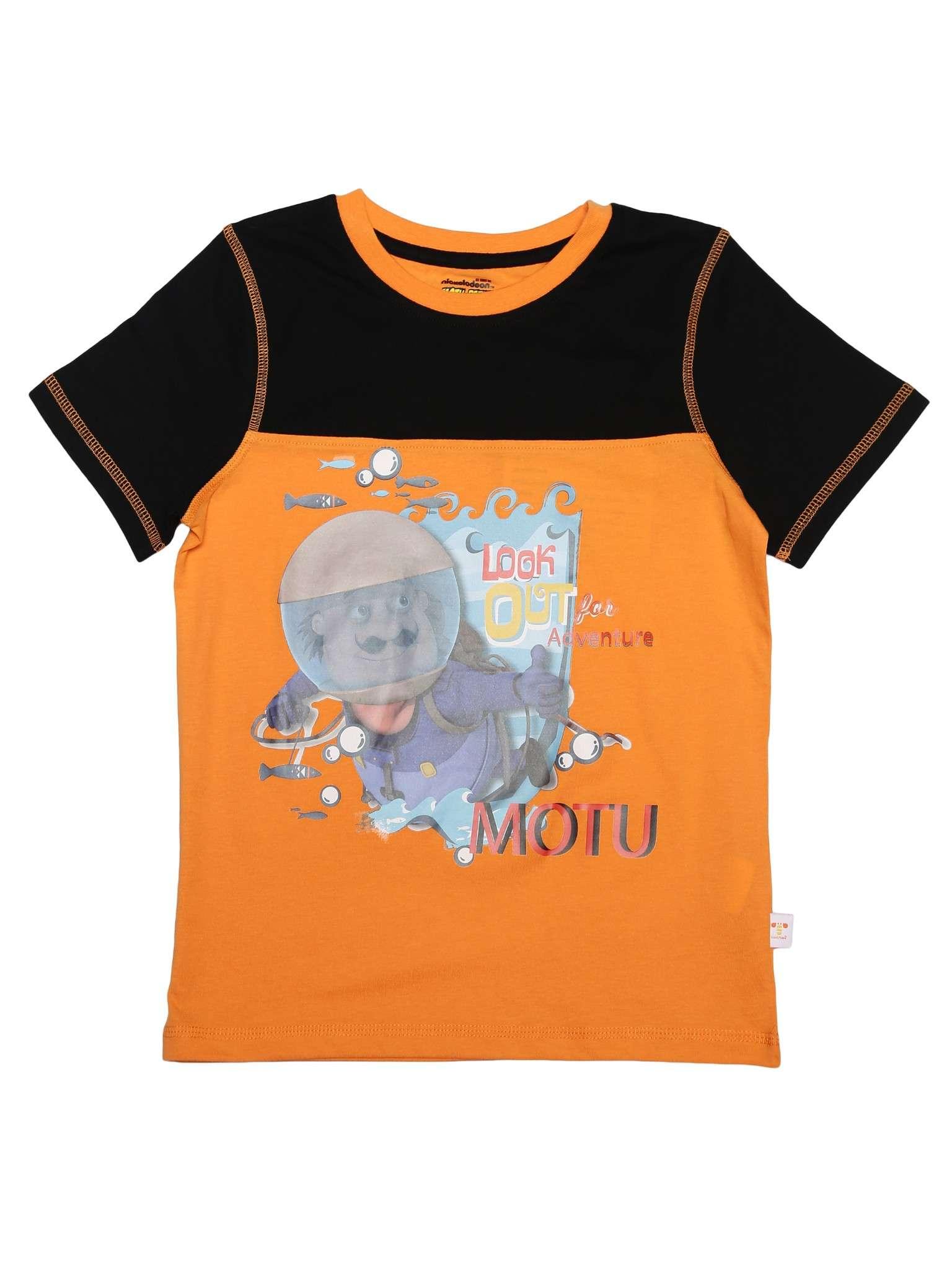 MOTU PATLU KIDS BOYS POPPY ORANGE SHORTS SLEEVES T-SHIRT