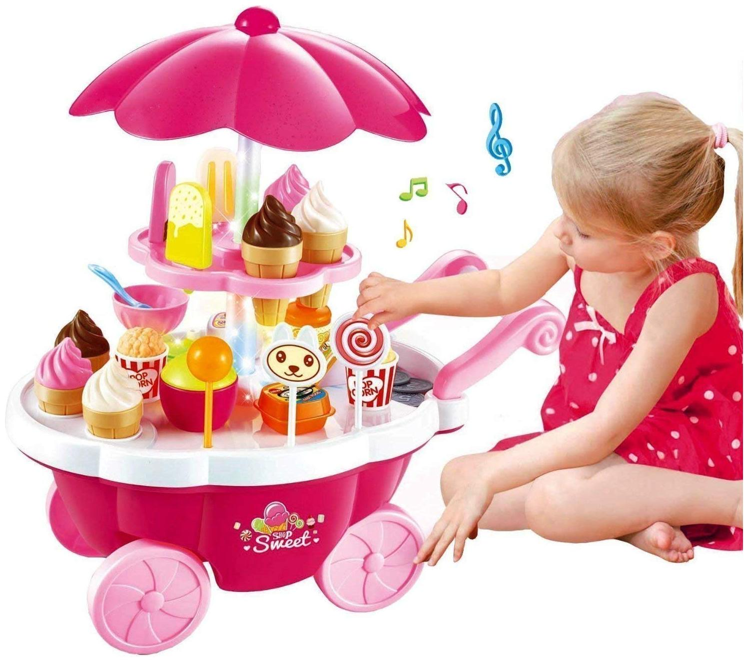 New Toy chehar enterprise Ice Cream Kitchen Play Cart Kitchen Set Toy with Lights and Music, pink (color may be vary)