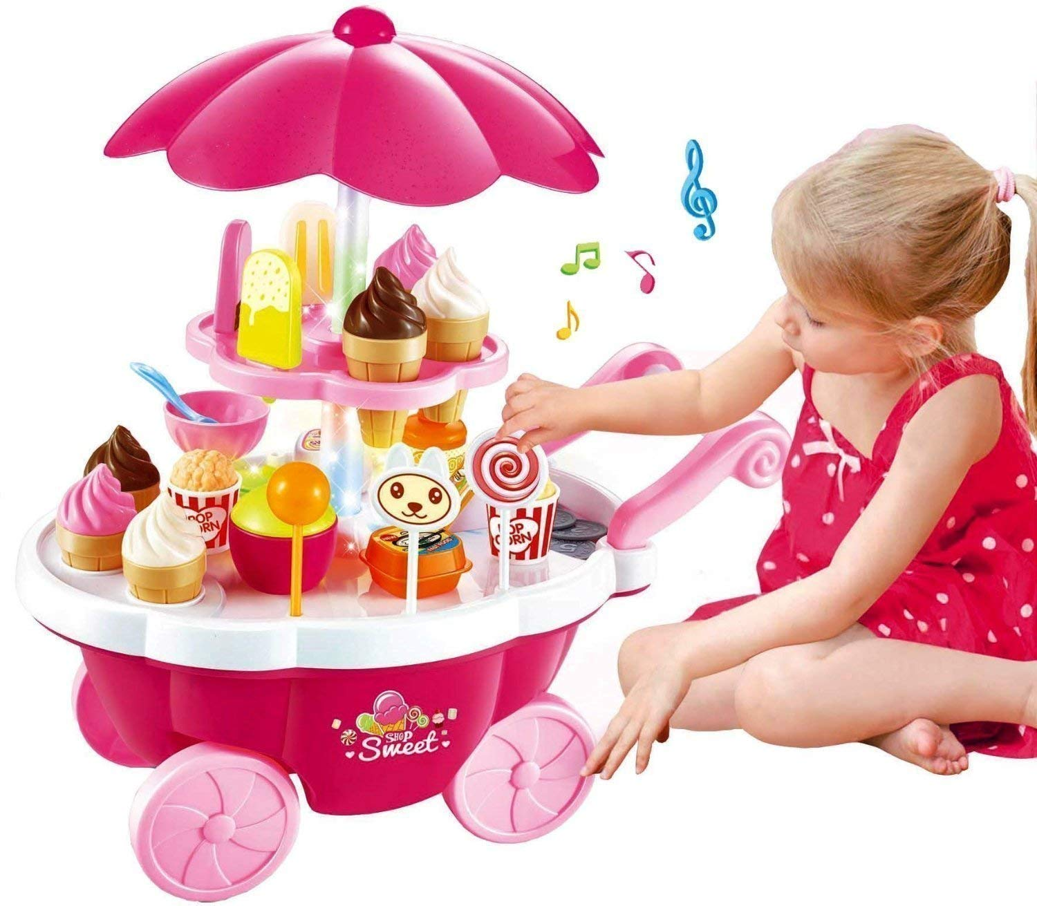 New toy chehar enterprise Ice Cream Kitchen Play Cart Kitchen Set Toy with Lights and Music, Pink