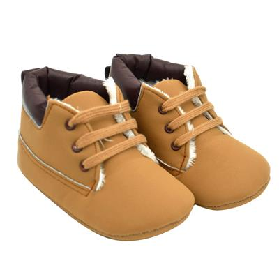 Newborn Shoes Autumn Khaki Color Plus Velvet Soft Sole Infant Shoes (13) # International Bazaar