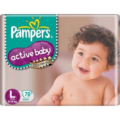 Pampers Active Baby Regular Diaper L - 78 Pcs