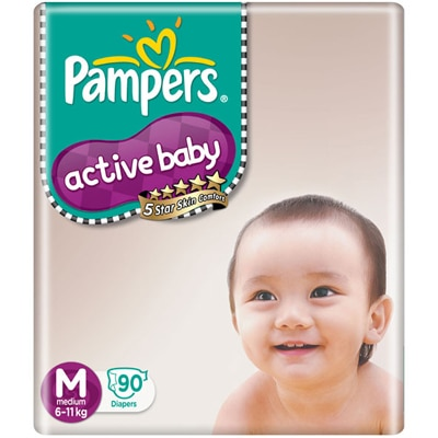 Pampers Active Baby Regular Diaper M - 90 Pcs