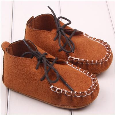 Phenovo Cute Baby Boy Girls Soft Nubuck Leather Shoes Lace Loop Anti-slip Brown 13