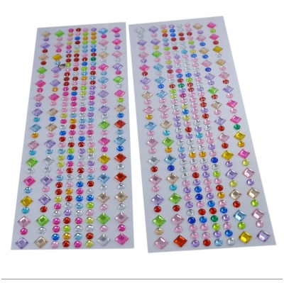 Saamarth Impex Acrylic Self Adhesive Multicolor Flower Crystal Stickers for Mobile Phone Personalization, Project Making, Gift Decoration SI-4373