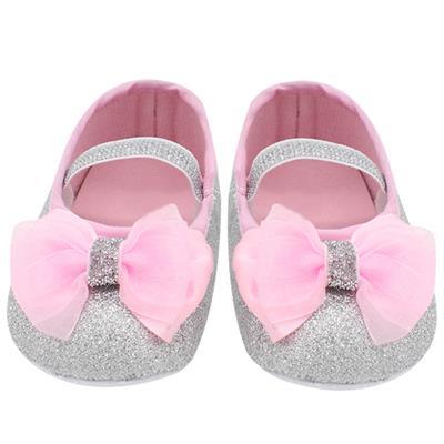 (Silver)(13)Baby Girl Lace Shoes Toddler Prewalker Anti-Slip Shoe # International Bazaar