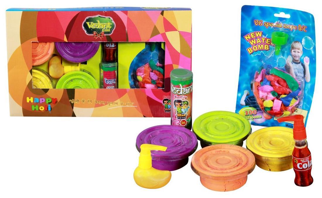 Vedant Holi Gift Box Premium Gulal Pichkari And More